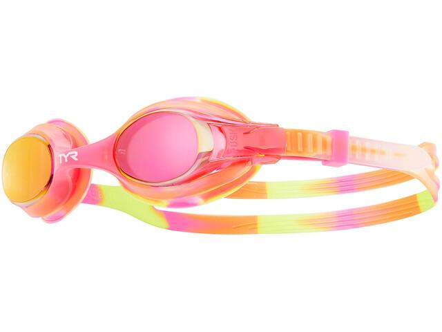 TYR Swimple Tie Dye Mirrored Gafas Niños, yellow/pink